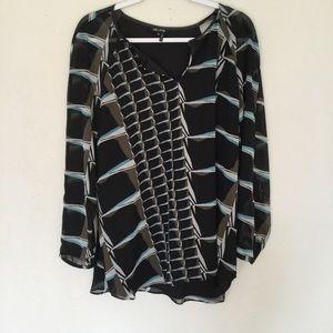 Nic + Zoe Black Sheer Sleeve Plus Size Blouse NWT